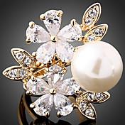 Anillos de Diseño Perla Zirconio Zirconia Cúbica Legierung Moda Pantalla de color Joyas Fiesta 1 pieza