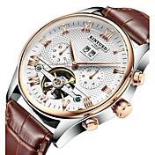 KINYUED Hombre Reloj de Vestir Reloj Esqueleto Reloj de Pulsera El reloj mecánico Cuerda AutomáticaCalendario Cronógrafo Resistente al