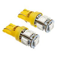 T10 Carro Amarelo Âmbar 5W SMD 5050 Luz de Marcador Lateral