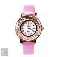 Biały spersonalizowanych prezent Różowy damski Dial Pasmo analogowe grawerowane PU Watch z Rhinestone