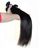 Gerçek Saç İri Dalgalı Peru Saçı İnsan saç örgüleri Düz Saç uzatma 1 Parça Siyah