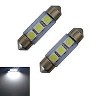 1W Festoon Luz de Decoração 3 SMD 5050 60lm lm Branco Frio DC 12 V 2 pçs