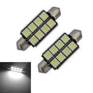1.5W Festoon Luz de Decoração 8 SMD 5050 150-170lm lm Branco Frio DC 12 V 2 pçs