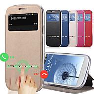 ζεστό δημοφιλή συρρικνώθηκε μόδας προβολή παραθύρου κτυπήματος περίπτωσης δέρματος για το i9500 Samsung Galaxy S4 έξυπνη συρόμενη απάντηση