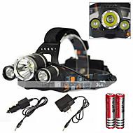 Φακοί Κεφαλιού Λάμπα Καπέλου Λαμπτήρες LED LED 6000 Lumens 1 Τρόπος Cree XM-L T6 18650 Επαναφορτιζόμενο Αδιάβροχη Εξαιρετικά Ελαφρύ