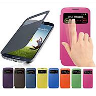 Varten Samsung Galaxy kotelo Ikkunalla / Flip Etui Kokonaan peittävä Etui Yksivärinen Tekonahka Samsung S4 Mini