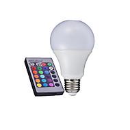 3W E26/E27 Lâmpada Redonda LED A60(A19) LED de Alta Potência 280-320 lm RGB Controle Remoto AC 85-265 V 1 pç