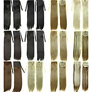 Cordão de cordão cordão ponytails clipe de cabelos em extensões de cabelo natural preto / castanho escuro / loiro