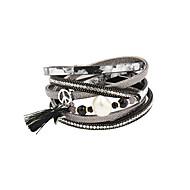 Dames Bedelarmbanden Wikkelarmbanden Lederen armbanden Kwasten Modieus Vintage Punk-stijl Luxe SieradenParel Kristal Leder Acryl Strass
