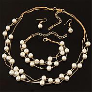 Dame Smykke Sæt Dråbeøreringe Kædehalskæde Perlehalskæde Mode Flerlags Elegant Brude kostume smykker Perle Cirkelformet Øreringe Halskæde
