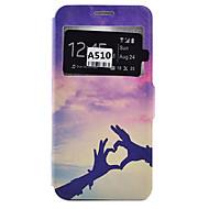 For Samsung Galaxy etui Kortholder Stødsikker Støvsikker Med stativ Etui Heldækkende Etui Hjerte Blødt Kunstlæder for SamsungA9(2016)