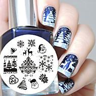 geboren mooie kerst nail art afbeelding stempelen plaat sjabloon nagel gereedschap