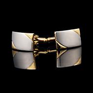 Botões de Punho 1 par,Cor Única Dourado Fashion / Caixas de presente e Bolsas Argola Masculino Jóias