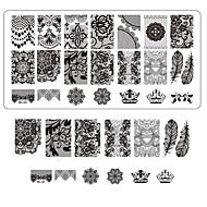 lace afdrukken nail art stempelen decor diy manicure stempelen platen voor nagels templates salon gereedschappen BC03