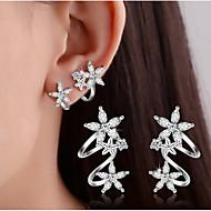 Dame Stangøreringe Klipøreringe Krystal Imiteret Diamant Enkelt design Dobbeltlags kostume smykker Sølv Hjerteformet Blomstformet