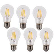 4W E26/E27 LED Λάμπες Πυράκτωσης A60(A19) 4 COB 400 lm Θερμό Λευκό / Ψυχρό Λευκό Διακοσμητικό / Αδιάβροχο AC 220-240 V 6 τμχ