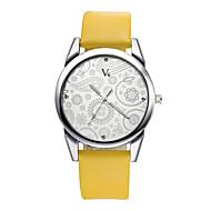 V6 Damen Kleideruhr Modeuhr Armbanduhren für den Alltag Armbanduhr Quartz Wasserdicht / PU Band Blume Bequem Schwarz BraunWeiß Schwarz