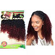 Gerçek Saç Düz Brezilya Saçı Ombre Kıvırcık Kıvırcık Dalgalar Saç uzatma 1 Parça Siyah / Bordo