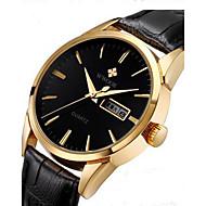 WWOOR 남성 패션 시계 손목 시계 석영 PU 밴드 캐쥬얼 블랙 브라운