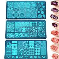 1pcs Mode stempelen plaat kleurrijke&mooi beeld manicure schoonheid stencils nagel roestvrij staal stempelen plaat nagellak