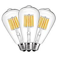 10W LED Λάμπες Πυράκτωσης ST64 10 COB 1000 lm Θερμό Λευκό Διακοσμητικό AC 220-240 V 3 τμχ