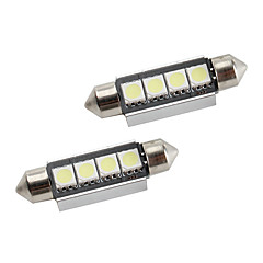 42mm 1.5W 4x5050 80lm smd wit licht led lamp voor auto-interieur lampen CANbus (2-pack, DC 12V)