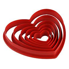 κέικ φοντάν DIY διακόσμηση κόκκινο σε σχήμα καρδιάς μπισκότο μπισκότο κόφτη καλούπι (6-pack) jg0053