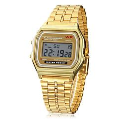 Herren Armbanduhr Digitaluhr digital LCD Kalender Chronograph Alarm Legierung Band Gold Golden