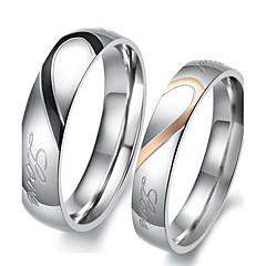 Dame Parringe Forlovelsesring Kærlighed Brude Rustfrit Stål Hjerteformet Smykker Til Bryllup Fest Fødselsdag Forlovelse Daglig