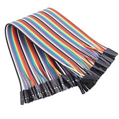 kadın renkli şerit düz kablo atlama DuPont'un 40 telli 1p-1p 2.54mm için (için arduino) (20cm) dişi