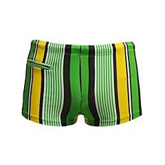 Homens Listrado Nylon Spandex Forrado Zipper bolso Boxers Calção de banho