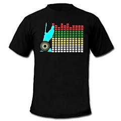 męskie zapalić koszulka dźwięk i muzyka aktywowany korektor Panel prowadził el maszynowy zmywalny Party Festival rzep Pasek raver