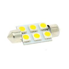 36mm 6x5050 smd led 100lm 3000k warm wit licht festoen koepel lezen kaart nummerplaat gloeilamp voor auto (DC 12V)