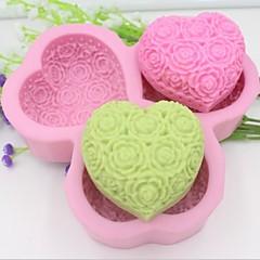 σε σχήμα καρδιάς αυξήθηκε λουλούδι εργαλεία διακόσμηση φοντάν κέικ μούχλα σιλικόνης σοκολάτα, l14.5cm * w14.5cm * h3cm
