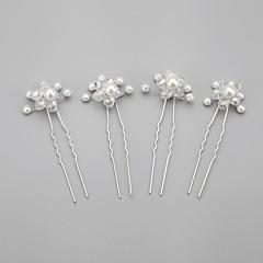 Kobiety Flower Girl Kryształ Stop Pearl imitacja Winieta-Ślub Piękny Spinka do włosów 4 elementy