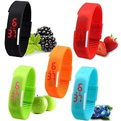 Kadın's Spor Saat Bilek Saati Bilezik Saat Gündelik Saatler Dijital saat Dijital LED Silikon Bant Şeker Siyah Beyaz Kırmızı Pembe