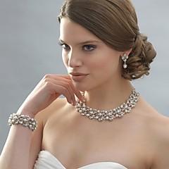 Mulheres Conjunto de Jóias Brincos Compridos Colar com Pérolas Pérola Elegant Casamento bijuterias Pérola Strass Prata Chapeada Liga