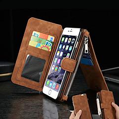 Til iPhone 8 iPhone 8 Plus iPhone 6 iPhone 6 Plus Etuier Pung Kortholder Med stativ Flip Heldækkende Etui Helfarve Hårdt Ægte læder for