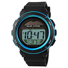 SKMEI Herre Sportsur Armbåndsur Digital LED Kalender Kronograf Vandafvisende alarm Solenergi Sportsur PU Bånd Sort Blå Gylden