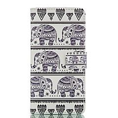 For Huawei etui P8 P8 Lite Med stativ Etui Heldækkende Etui Elefant Hårdt Kunstlæder for Huawei Huawei P8 Huawei P8 Lite Andet