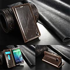 Voor HTC hoesje Portemonnee / Kaarthouder / met standaard / Flip hoesje Volledige behuizing hoesje Effen kleur Hard Echt leer HTC