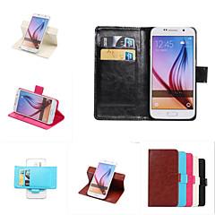 For Samsung Galaxy Note7 Kortholder Med stativ Flip Etui Heldækkende Etui Helfarve Kunstlæder for SamsungNote 7 Note 6 Note 5 Edge Note 5
