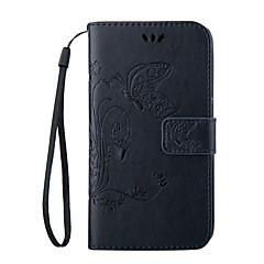 For Samsung Galaxy etui Etuier Pung Kortholder Med stativ Flip Præget Heldækkende Etui Sommerfugl Blødt Kunstlæder for SamsungS8 S8 Plus