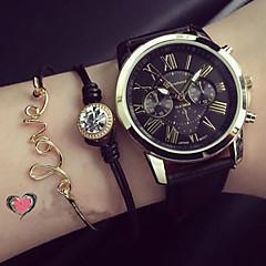 아가씨들 패션 시계 팔찌 시계 석영 PU 밴드 블랙 화이트 그린 핑크