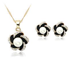 Feminino Conjunto de Jóias Colar / Brincos bijuterias Pérola Imitação de Pérola Strass Prata Chapeada Liga Colares Brincos Para Casamento