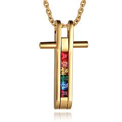 Férfi Nyaklánc medálok Függők Cross Shape Rozsdamentes acél Arannyal bevont 18K arany Križ minimalista stílusú Divat Ékszerek