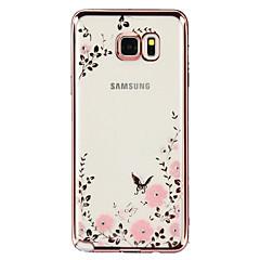 Varten Samsung Galaxy Note Paljetti / Pinnoitus / Läpinäkyvä / Kuvio Etui Takakuori Etui Kukka TPU Samsung Note 5 / Note 4 / Note 3