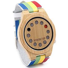 Herre Sportsur Modeur Ur Træ Quartz Japansk Quartz / Læder Bånd Vintage Regnbue Afslappet Mangefarvet
