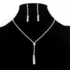 Női Ékszer készlet Függők Nyaklánc medálok elegáns jelmez ékszerek Divat Európai minimalista stílusú Menyasszonyi Strassz Hamis gyémánt