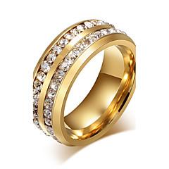 Férfi Női Karikagyűrűk Strassz Divat Személyre szabott jelmez ékszerek Titanium Acél Ékszerek Kompatibilitás Parti Napi Hétköznapi